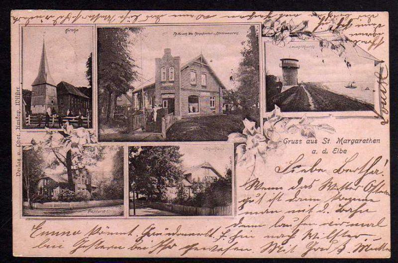 Ansichtskarte Sankt Margarethen Holstein 1901 Pastorat Schule Modewaren Kirche