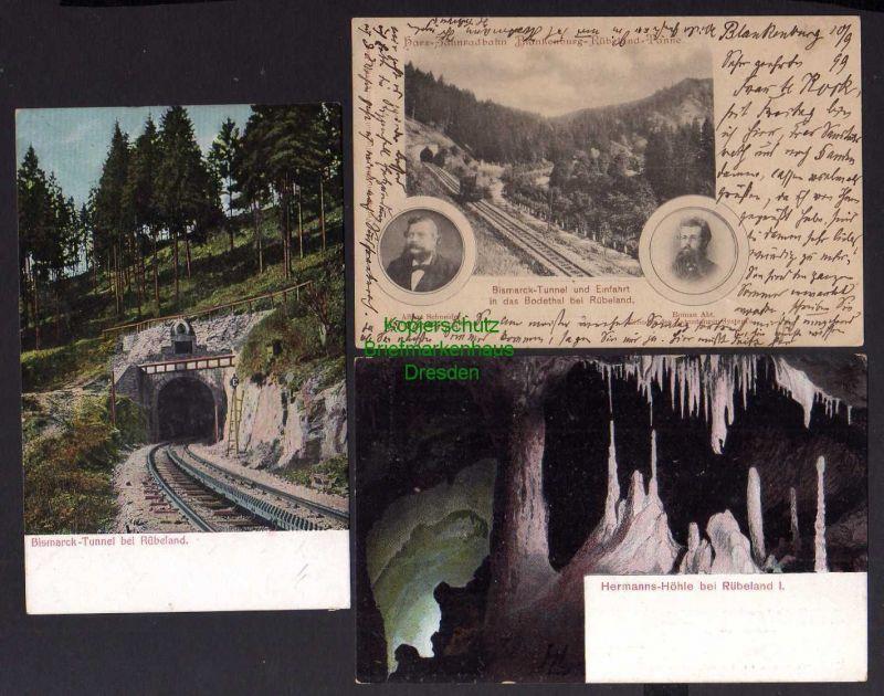 3 Ansichtskarte Harz Zahnradbahn Blankenburg Rübeland Tanne Bismarck Tunnel Einfahrt