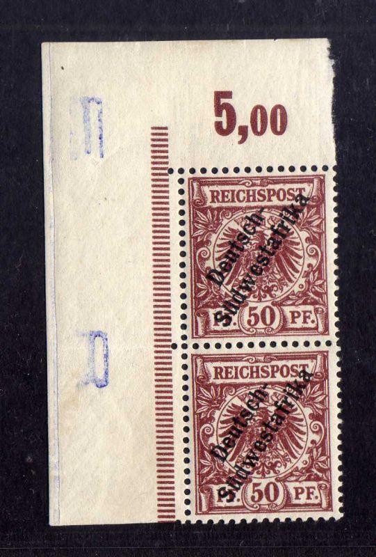 B1400 Deutsch Südwestafrika 2x 10 ** linker Rand Bogenecke Buchstabe Randinschri
