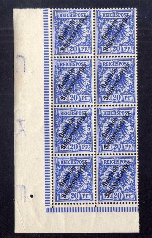 B1399 Deutsch Südwestafrika 8x 8 ** linker Rand Buchstabe Randinschrift