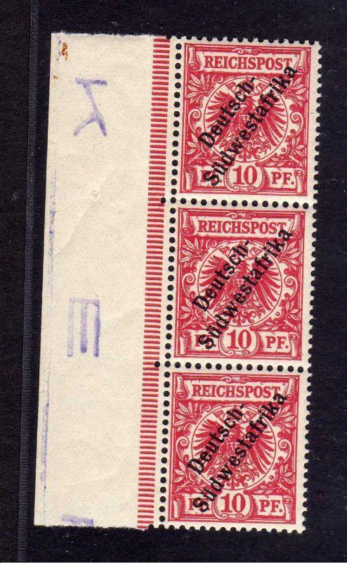 B1398 Deutsch Südwestafrika 3x 7a ** linker Rand Buchstabe Randinschrift
