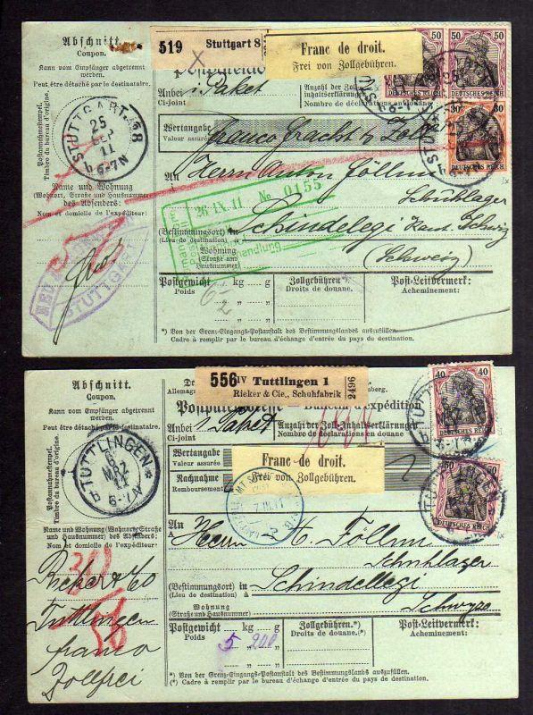B1200 2 Paketkarten Deutsches Reich Stuttgart 1911 DR 89 90 91 Tuttlingen