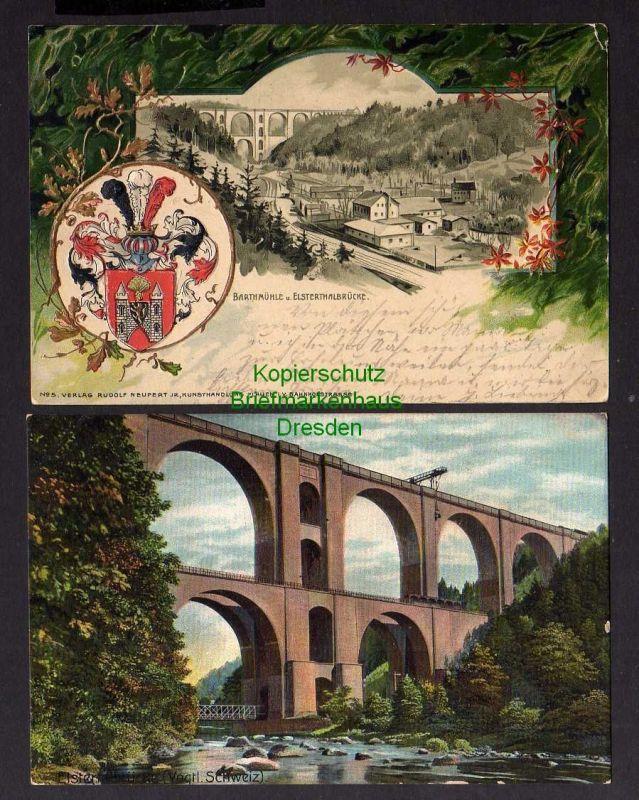 2 Ansichtskarte Vogtländische Schweiz Wappen Präge Karte Bahnhof Barthmühle Elsterta