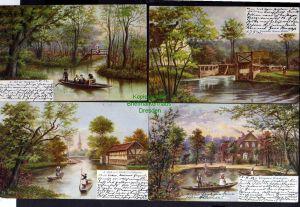 7 Ansichtskarte Spreewald Wotschofska Kahnfahrt zur Kirche 1902 Post Gasthof zum frö