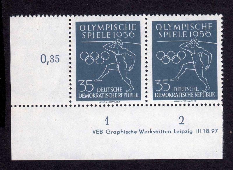 DDR 1956 540 Olympische Sommerspiele Melbourne  R 1-2 ** DV ungefalten nicht
