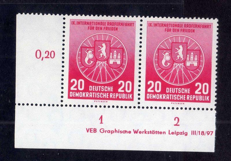 DDR 1956 522 Friedensfahrt R 1-2 ** DV ungefalten nicht angetrennt Wolf c