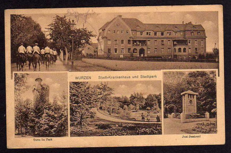 Ansichtskarte Wurzen Stadtkrankenhaus Juel Denkmal 1928