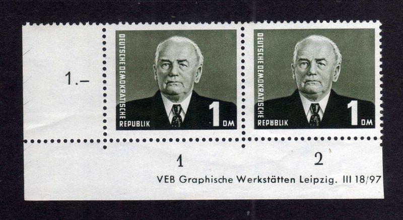 DDR 1953 342 bb III XII Wilhelm Pieck ** DZ ungefalten, nicht angetrennt unt
