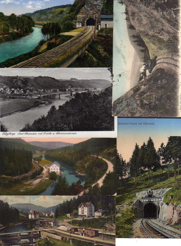 6 Ansichtskarte Eisenbahn Brücken Strecke Bahnhof Flossplatz b. Wolkenstein Harz Quer