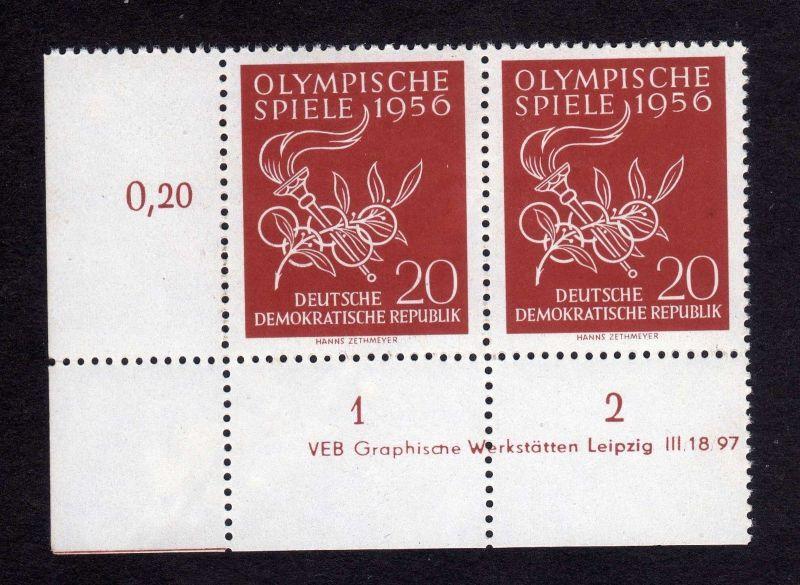 DDR 1956 539 Olympische Sommerspiele Melbourne  R 1-2 ** DV ungefalten nicht 0
