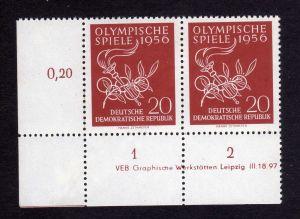 DDR 1956 539 Olympische Sommerspiele Melbourne  R 1-2 ** DV ungefalten nicht