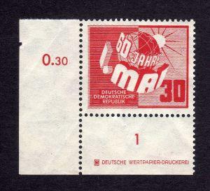 DDR 250 ** DZ ungefalten, nicht angetrennt Variante Wolf  b links ndgz., unt