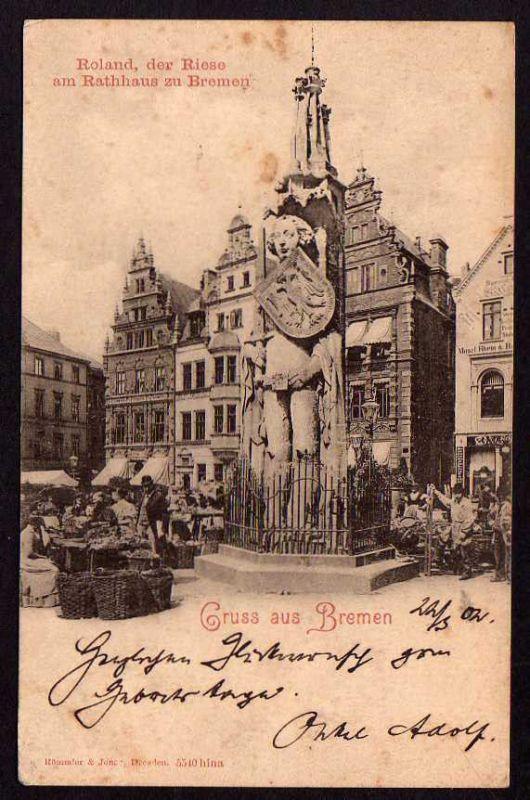 Ansichtskarte Bremen Roland der Riese am Rathaus zu Bremen