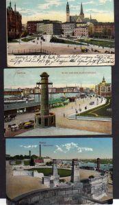 3 Ansichtskarte Stettin Grüne Schanze 1906 Blick von der Hakenterasse 1908 1917