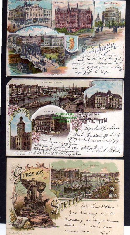 3 Ansichtskarte Stettin Privatpost 1899 Hansa Litho Rathaus Langebrücke Concerthaus
