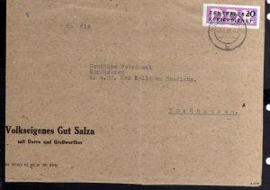 B1815 DDR ZKD 7 Briefteil Nordhausen Volkseigenes Gut Salza Darre Großwerther ge