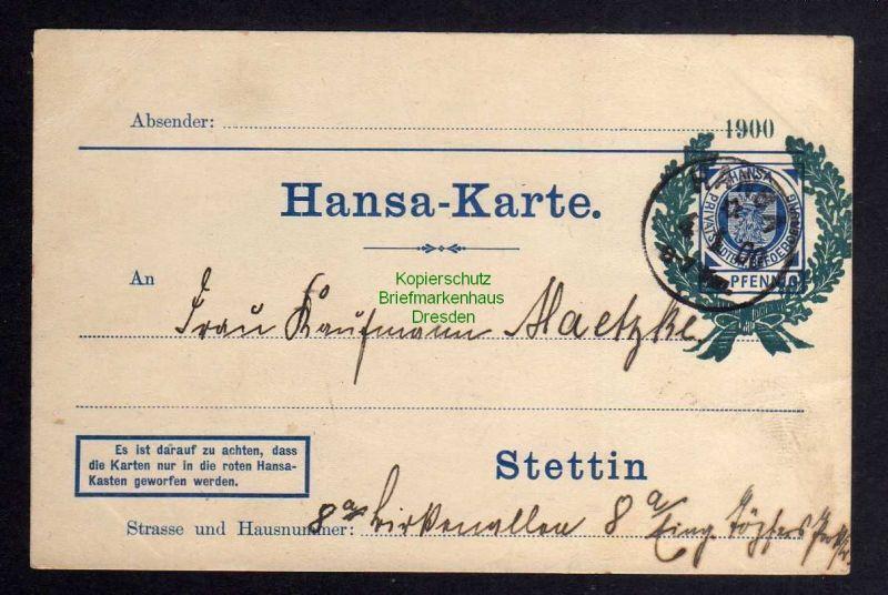 Stettin Privatpost 1900 Hansa Karte Jubiläum Jahrhundertkarte