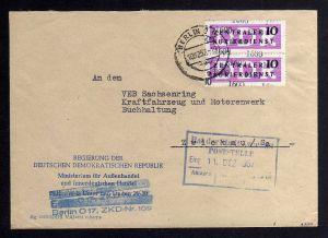 B1595 DDR ZKD 15 Kontrollzahl 1600 Brief Berlin geprüft BPP ZKD Nr. 109 Regierun