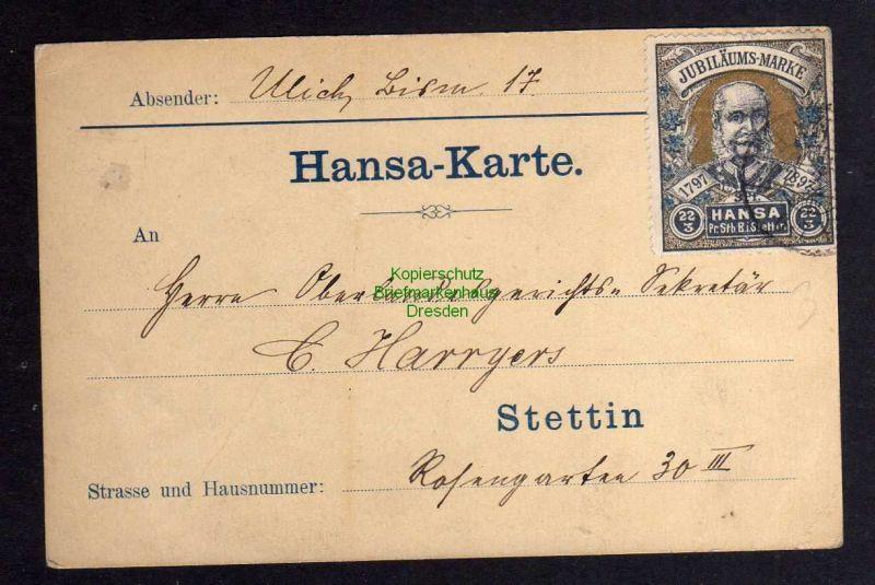 Stettin Privatpost 1897 Hansa Karte Jubiläums-Marke Michel Nr. 6