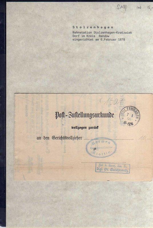 S119 Stettin Stolzenhagen 1898 Post Zustellungsurkunde Neuenkirchen Kreis Randow