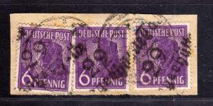 h2421 Handstempel Bezirk 29 42 Tangerhütte 3x 6 Pfg. 167 Briefstück geprüft Dr.