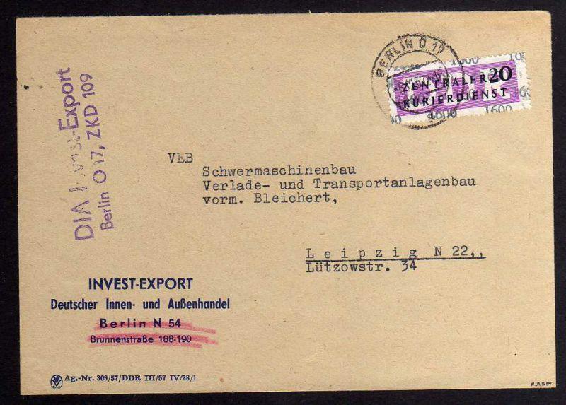 B1584 DDR ZKD 15 Kontrollzahl 1600 Brief Berlin geprüft BPP ZKD Nr. 109 Invest E