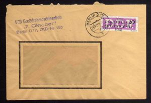 B1715 DDR ZKD 15 Kontrollnummer 1608 Berlin Brief ZKD 163 VEB Grossdrehmaschinen