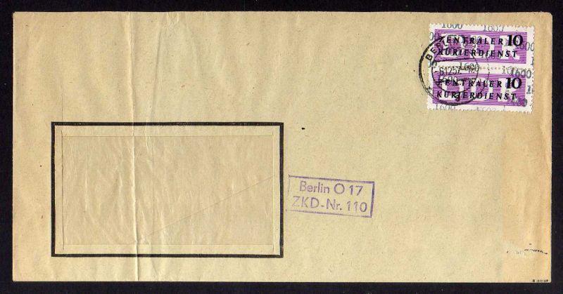 B1580 DDR ZKD 2x 10 Kontrollzahl 1600 Brief Berlin geprüft BPP ZKD Nr. 110 Deuts