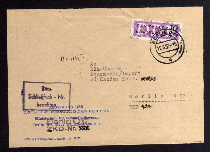 B1579 DDR ZKD 10 Kontrollzahl 1600 Brief Berlin geprüft BPP ZKD Nr. 126 Regierun