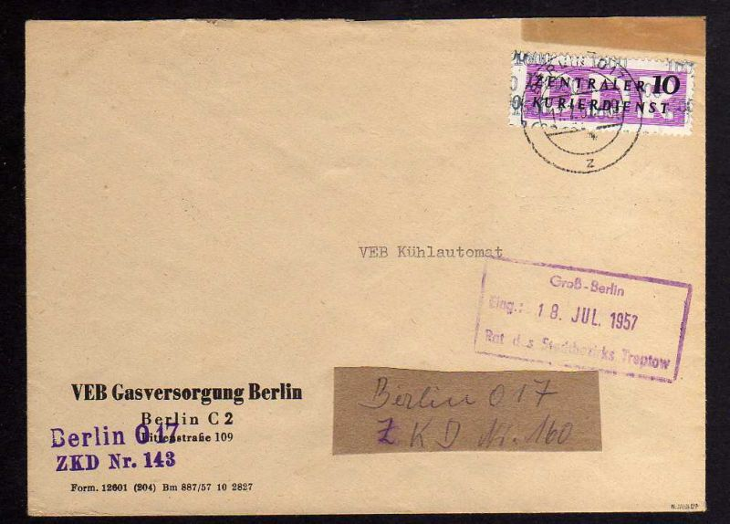 B1575 DDR ZKD 14 Kontrollzahl 1600 Brief Berlin geprüft BPP ZKD Nr. 143 VEB Gasv