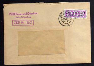 B1707 DDR ZKD 15 Kontrollnummer 1604 Berlin Brief ZKD 162 VEB Fliesen u. Ofenbau