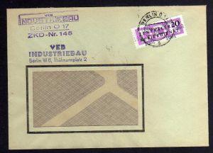 B1698 DDR ZKD 15 Kontrollnummer 1601 Berlin Brief ZKD 145 VEB Industriebau