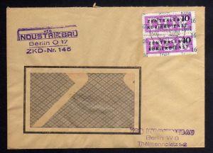 B1697 DDR ZKD 2x 14 Kontrollnummer 1601 Berlin Brief ZKD 145 VEB Industriebau