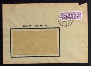 B1696 DDR ZKD 15 Kontrollnummer 1600 Berlin Brief ZKD 109 nach Plauen Vogtland