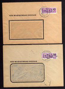 B1673 DDR ZKD 15 Kontrollnummer 8015 Dessau 2x Brief VEB Waggonbau Dessau 2 vers