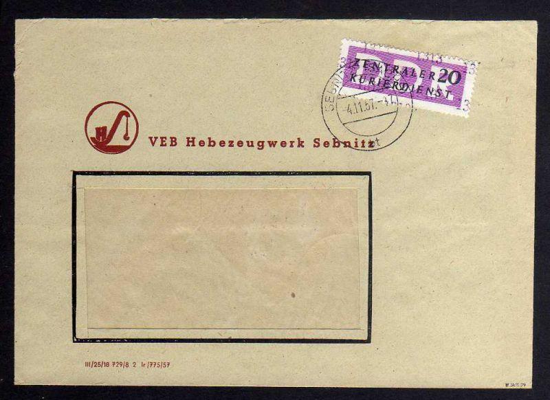 B1526 DDR ZKD 15 Kontrollzahl 1313 Brief Sebnitz geprüft BPP VEB Hebezeugwerk Se