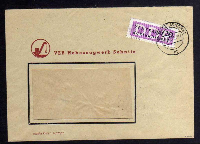 B1525 DDR ZKD 15 Kontrollzahl 1313 Brief Sebnitz geprüft BPP VEB Hebezeugwerk Se