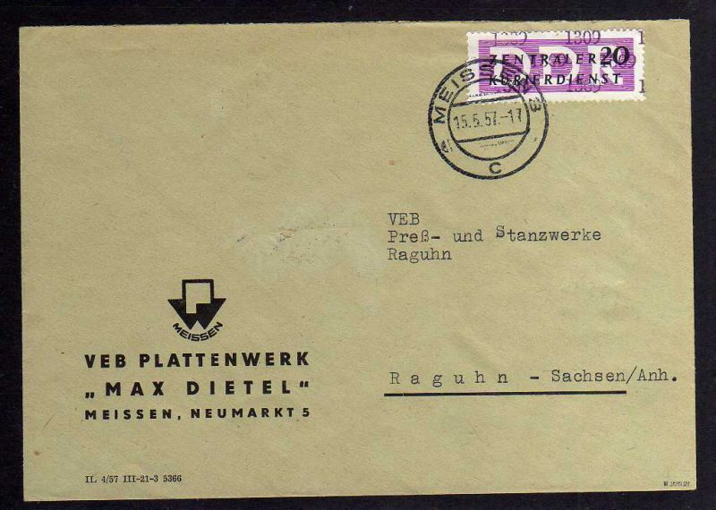 B1519 DDR ZKD 15 Kontrollzahl 1309 Brief Meissen Meißen geprüft BPP VEB Paletten