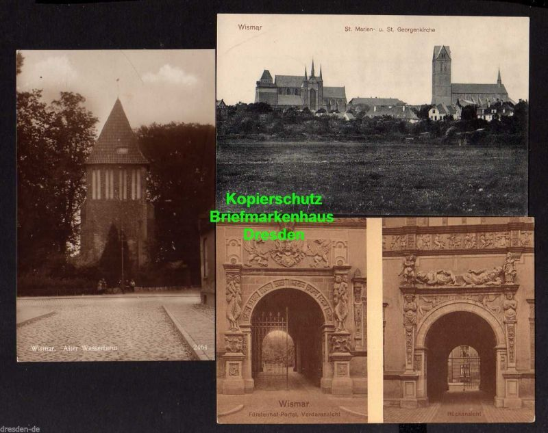 3 Ansichtskarte Wismar St. Marien Kirche St. Georgenkirche u 1910 Fürstenhof Portal