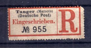 Kolonien Einschreiben R Zettel Tanger (Marocco) Deutsche Post.
