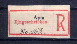 Kolonien Einschreiben R Zettel Samoa Provisorium Apia Eingeschrieben. No.