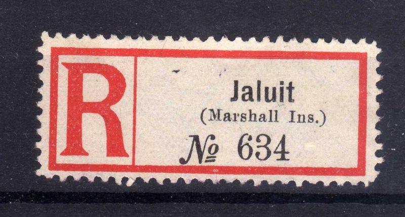Kolonien Einschreiben R Zettel Jaluit (Marshall Ins.).