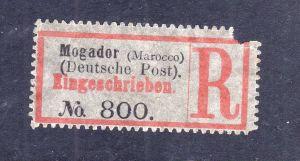 Kolonien Einschreiben R Zettel Mogador (Marocco) Deutsche Post.