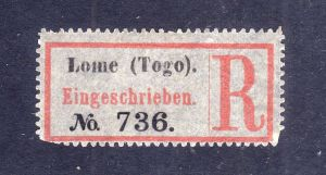 Kolonien Einschreiben R Zettel Lome (Togo).