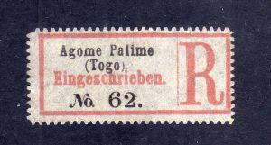 Kolonien Einschreiben R Zettel Agome-Palime (Togo).