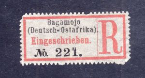 Kolonien Einschreiben R Zettel Bagamojo (Deutsch-Ostafrika).
