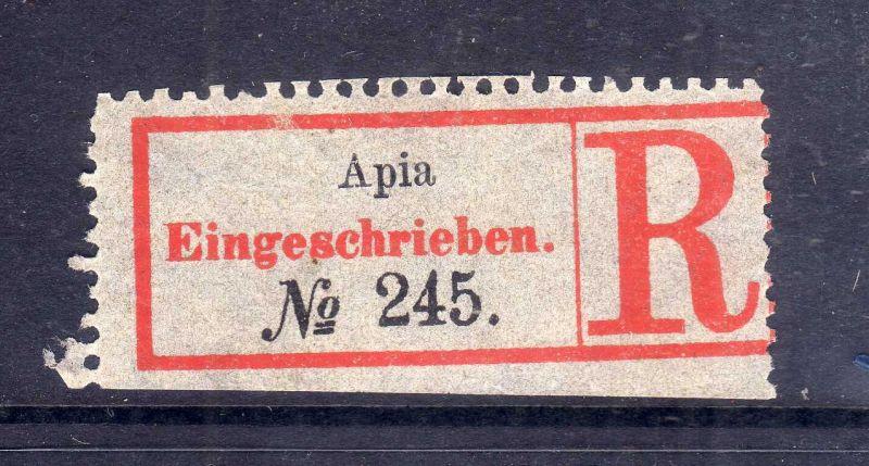 Kolonien Einschreiben R Zettel Samoa Apia Eingeschrieben. No. 245
