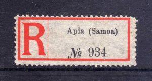 Kolonien Einschreiben R Zettel Samoa Apia Eingeschrieben. No. 934
