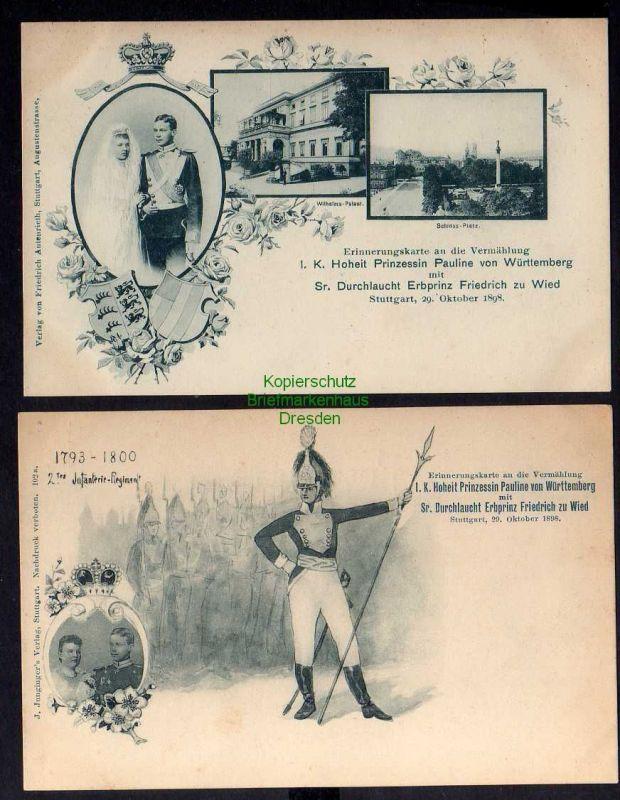 2 Ansichtskarte Stuttgart 1898 2. Infanterie Regiment Prinzessin Pauline Erbprinz Fr