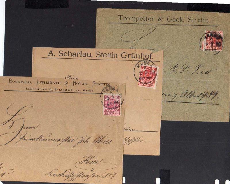 S116 3x Privatpost Stettin Hansa 1899 Brief Firmenvordruck Notar Trompeter & Gec